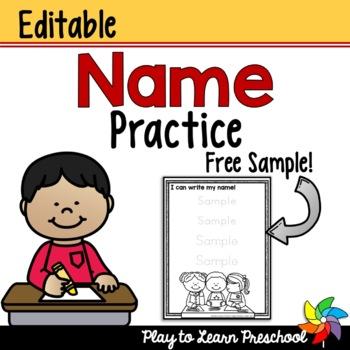 free editable name practice for kindergarten