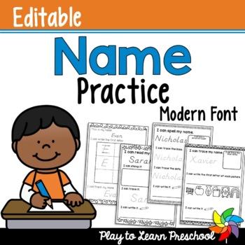 Name Practice - Editable *Modern Font