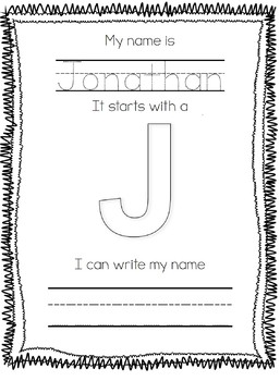 Name Writing Practice- Trace, First Letter, & Write (Editable)