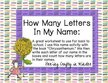 "Name Writing Activity with ""Chrysanthemum"""
