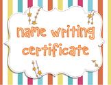 Name Writing Certificate