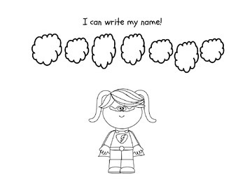 Name Writing Incentive Sheet for Girls