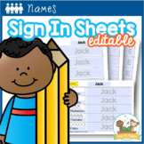 Name Writing Practice Student Sign-In Sheets Editable