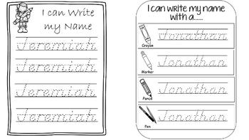 Name Writing Practice complete Bundle In D'Nealian (Editable)