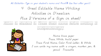 Name Writing Practice complete Bundle In D'Nealian (Editable)