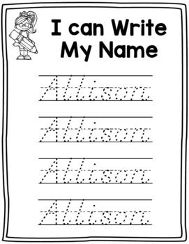 Name Writing Practice in D'Nealian-- Trace Paper (Editable ...