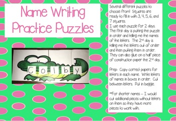 Name Writing Puzzles