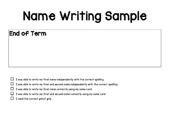 Name Writing Work Sample