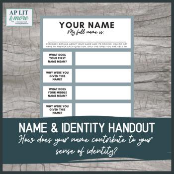 Name and Identity Graphic Organizer