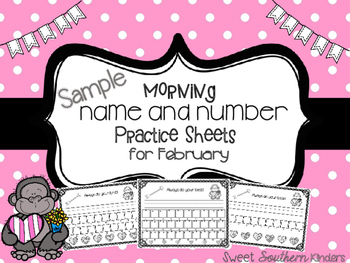 Name and Number Practice Sheets for February (Sample)