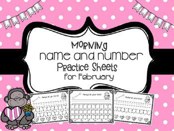 Name and Number Handwriting Practice Sheets for February