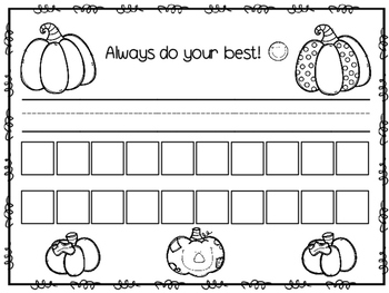 Name and Number Practice Sheets for October Handwriting