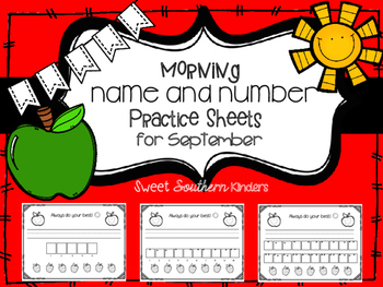 Name and Number Handwriting Practice Sheets for September