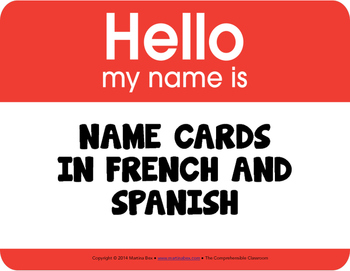 Name cards in French and Spanish