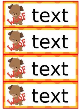 Name labels- dog theme editable