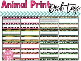 BACK TO SCHOOL Name plates, Animal Print, Jungle, Desk Tags