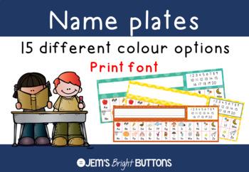Name plates for student desks - Print Font