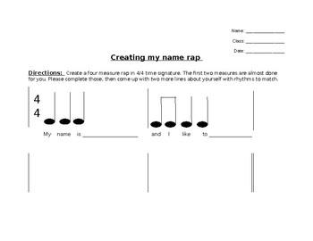 Name rap worksheet (simple)