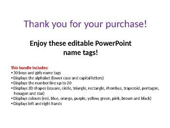 Name tags!