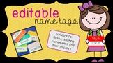 Name tags - Hello my name is EDITABLE