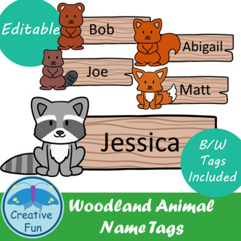 Name tags: Woodland Animals
