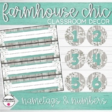 Name tags and Numbers | Farmhouse Chic Classroom Decor