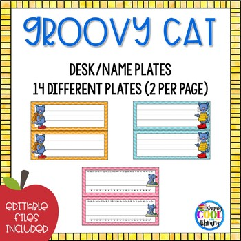 Name tags or Desk Plates  - Editable {Groovy Cat}