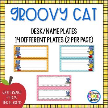 Name tags or Desk Plates  - Editable {Groovy Cat}