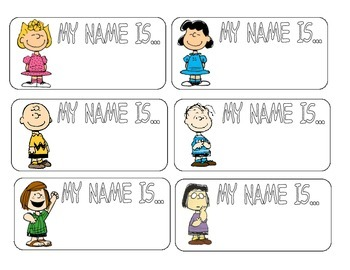 Name tags with Peanuts theme