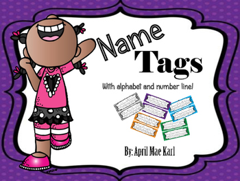 Name tags with alphabet and number line