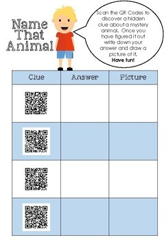 Name that Animal QR Code Challenge ( STEM for Juniors )