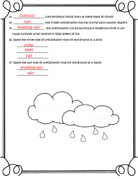 Weather Freebie -Name that Cloud or Precipitation-2 pg worksheet with answer key