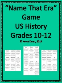 """Name that Era"" AP US History review game (sample)"