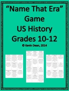 """""""Name that Era"""" AP US History review game (sample)"""
