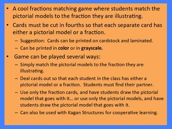 Name that Fraction:  An Addicted to Fractions Matching Game