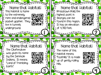Name that Habitat! QR Code Task Cards