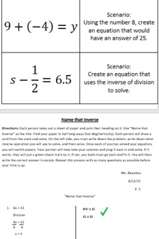 Name that Inverse- One Step Equation Partner Activity