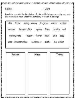 Name that Noun - identifying nouns task cards