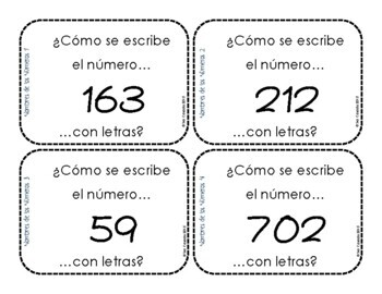 Name that Number! to 1000 Task Cards (2nd Grade Math) (Spanish Version)