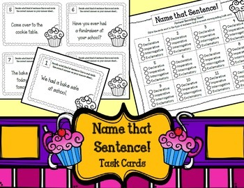 Name that Sentence! Task Cards. English Centers.Types of Sentences