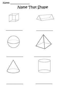 Name that Shape Geometric Worksheet