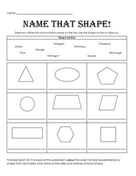 Name that Shape Worksheet