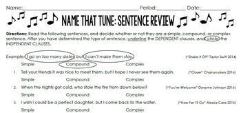 Name that Tune: Sentence Review (Simple, Compound and Complex Sentences)