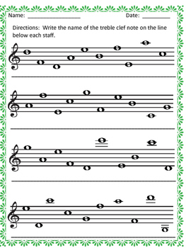 Name the Notes:  Treble Clef Notes