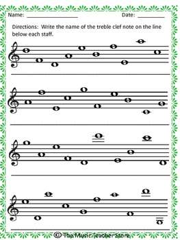 Name the Notes:  Treble Clef and Bass Clef with Answer Key