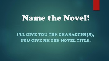 First Week of School Activity or Trivia Game - Name the Novel (YA Version)