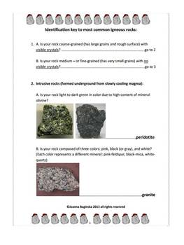 Igneous rocks: a dichotomous identification key to most common igneous rocks