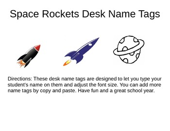 Name Tags Space Rockets