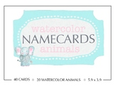 Namecards with Watercolor Animals