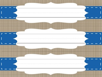 Nameplate Blue White Tan Design